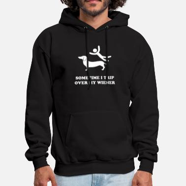 sometimes i trip over my wiener dog - Men's Hoodie