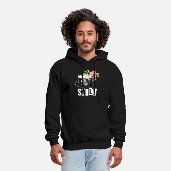 Women Photographer Boyfriend T-shirts Hoodies & Sweatshirts - Photographer Smile funny flower photograph - Men's Hoodie black
