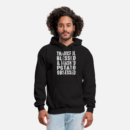 Funny Jesus T-shirts Hoodies & Sweatshirts - thankful blessed and mashed potato obsessed jesus - Men's Hoodie black
