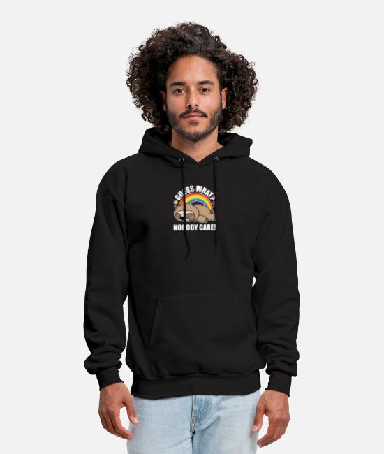 Lazy Hoodies & Sweatshirts - Guess What, Nobody Cares! Funny Meme Sloth Edition - Men's Hoodie black