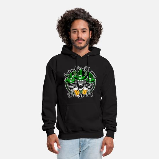 Day Hoodies & Sweatshirts - Funny Irish Skulls:Erin Go Home, Yer Drunk - Men's Hoodie black