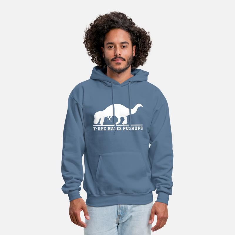982710261 T-Rex Hates Pushups Men's Hoodie   Spreadshirt