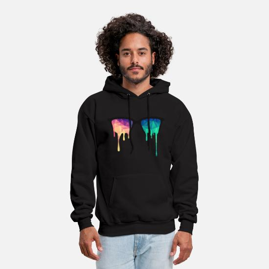Cool Hoodies & Sweatshirts - Abstract Psychedelic Nerd Glasses with Color Drops - Men's Hoodie black