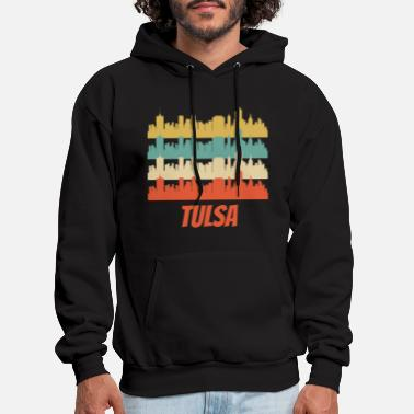 Skyline Retro Tulsa OK Skyline Pop Art - Men's Hoodie