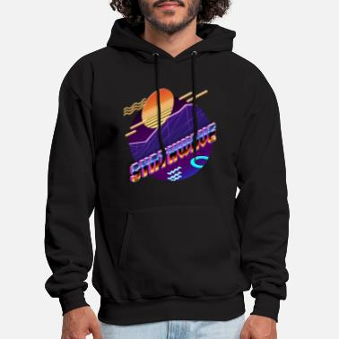 Synthwave Isometric Synthwave: Sunset - Men's Hoodie