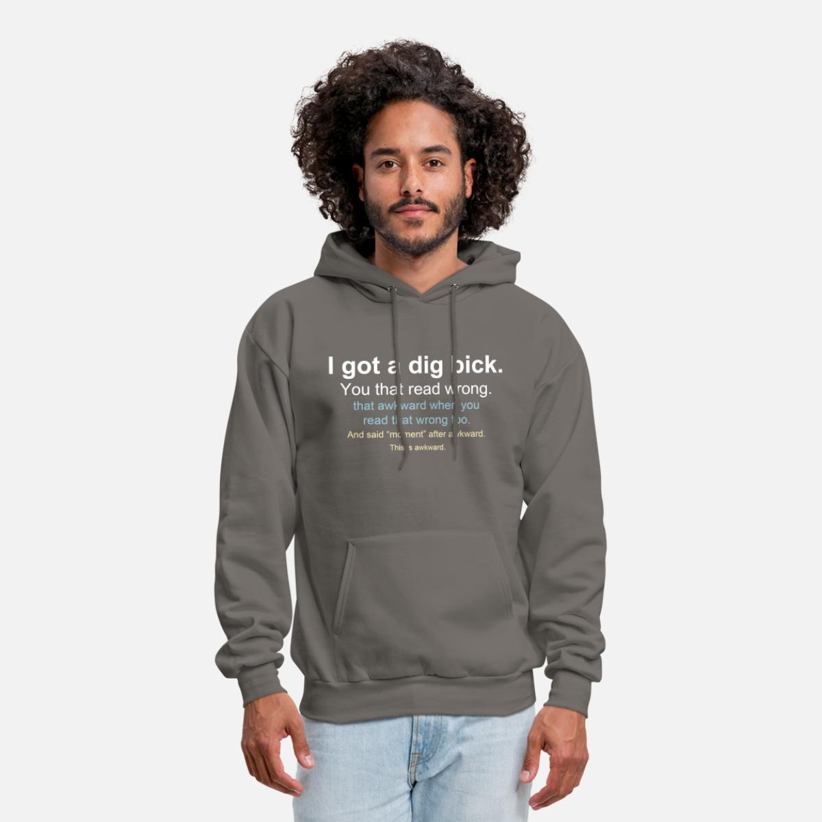 You That Read Wrong You Read That Wrong Too Hoodies Sweatshirt for Men Pullover Classic with Pockets S Black