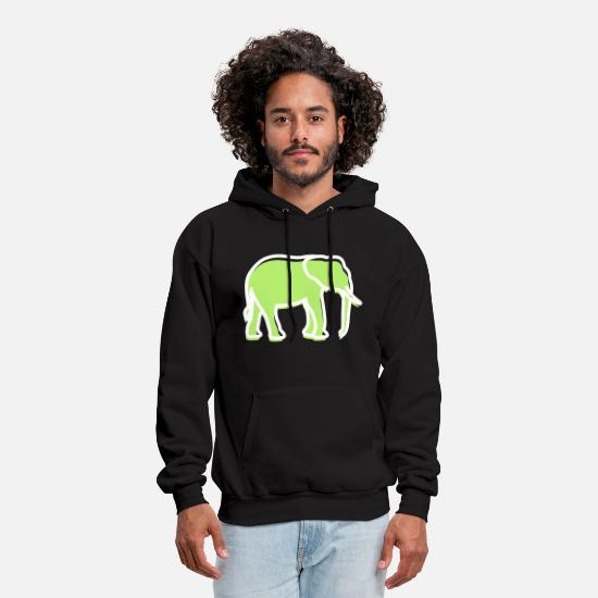 Mammoth Hoodies & Sweatshirts - A Big Elephant With Trunk - Men's Hoodie black