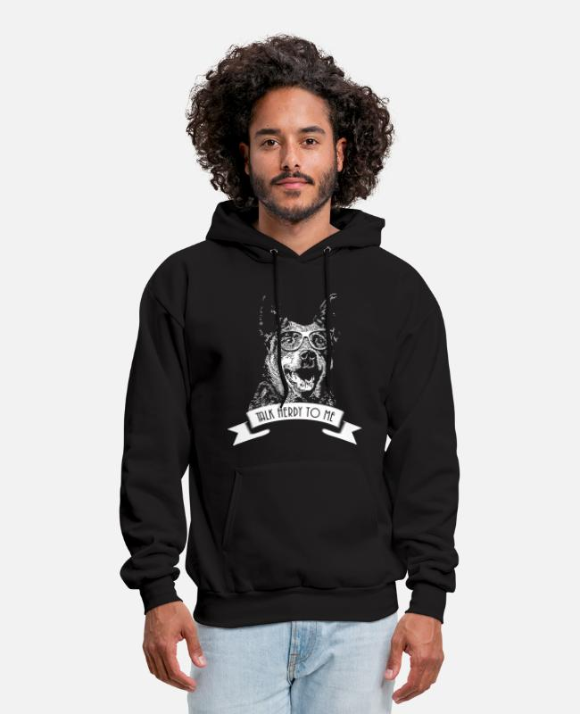 Aussie Hoodies & Sweatshirts - Australian cattle dog - talk herdy to me - Men's Hoodie black