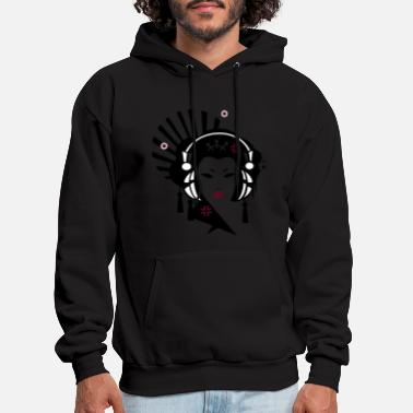 Music Geisha with Headphones - Men's Hoodie