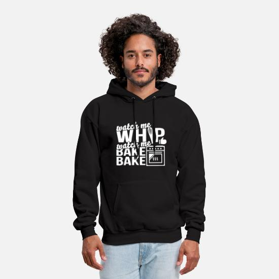 Bear Grill T-shirts Hoodies & Sweatshirts - watch me whip watch me bake chef bbq - Men's Hoodie black