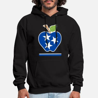 National Teacher Day blue apple star america - Men's Hoodie