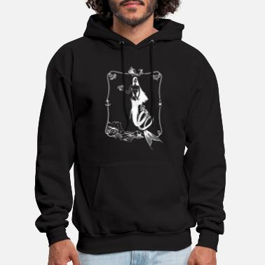Mermaid Screen Print on Black shark - Men's Hoodie