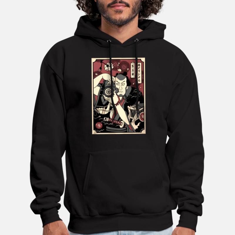 Mens Hoodie Samurai Fighter