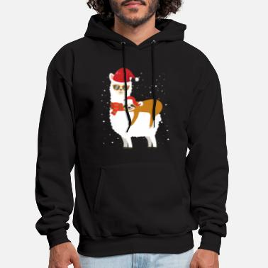 Sloth Christmas Santa Riding Santa Xmas Llama Snow - Men's Hoodie