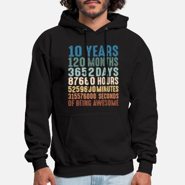 Months 10 years 120 months 3652 days 87660 hours 5249600 - Men's Hoodie