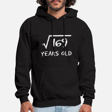 169 years old 13th birthday square root math - Men's Hoodie