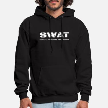 Swat SWAT Special Weapons And Tactics Stencil Text - Men's Hoodie