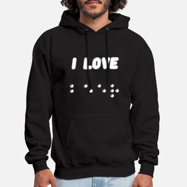 i love beer - braille - Men's Hoodie