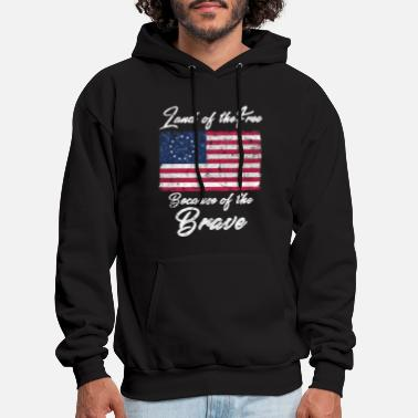 Betsy Ross American Flag Land of the Free - Men's Hoodie