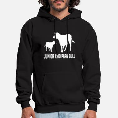 Junior and Papa Bull farmer T-Shirt gift - Men's Hoodie