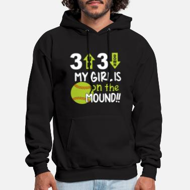 3 up 3 down my girl is on the mound softball t shi - Men's Hoodie