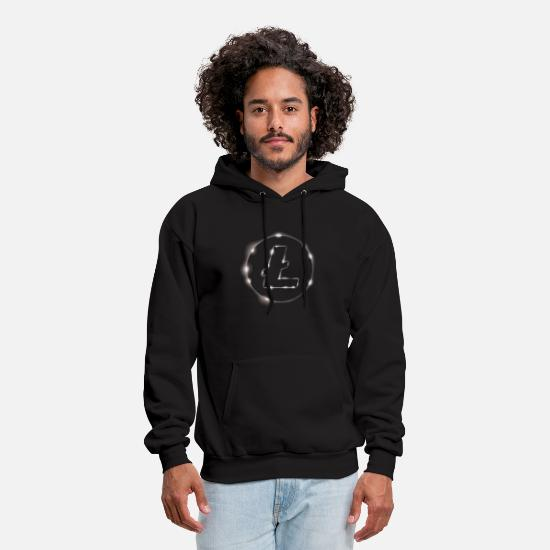 Bitcoin To The Moon Hoodies & Sweatshirts - Litecoin Eclipse Silhouette Cryptocurrency Design - Men's Hoodie black