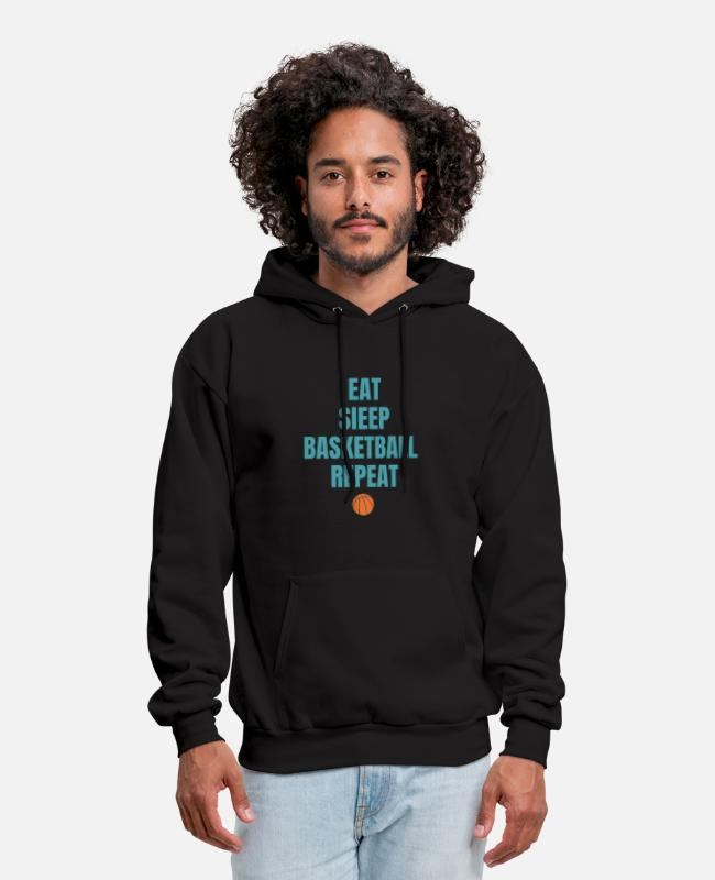 Design Hoodies & Sweatshirts - Eat sleep basketball repeat - Men's Hoodie black