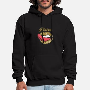 Pisces Girl y Golden Lips Tongue February March Bi - Men's Hoodie