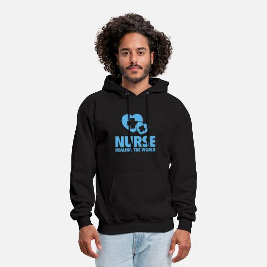 Love Hoodies & Sweatshirts - Nurse Healing The World - Men's Hoodie black