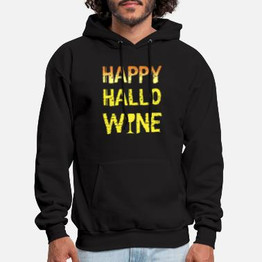 happy hallo wine yellow shirt drink funny festival - Men's Hoodie