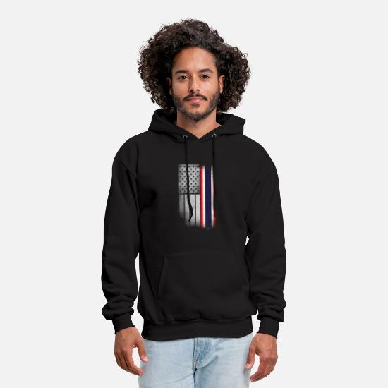 Flag Hoodies & Sweatshirts - Thai American Flag - Men's Hoodie black