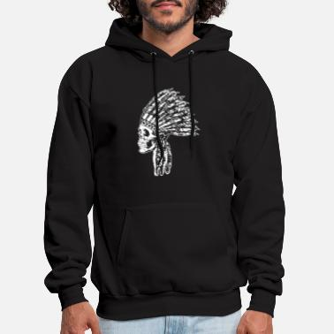 Indian Skull Indian Head Americana Native American Evil S - Men's Hoodie