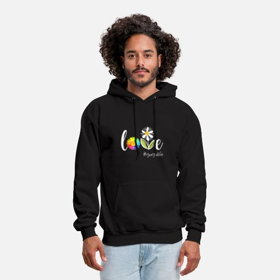 Gaga Hoodies & Sweatshirts - love Gaga life flower art beautiful flower grandma - Men's Hoodie black