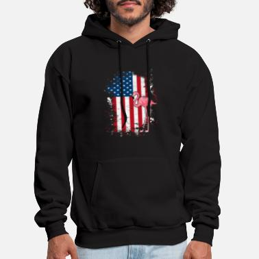American Flag with Flamingo Retro Vintage T Shirt - Men's Hoodie