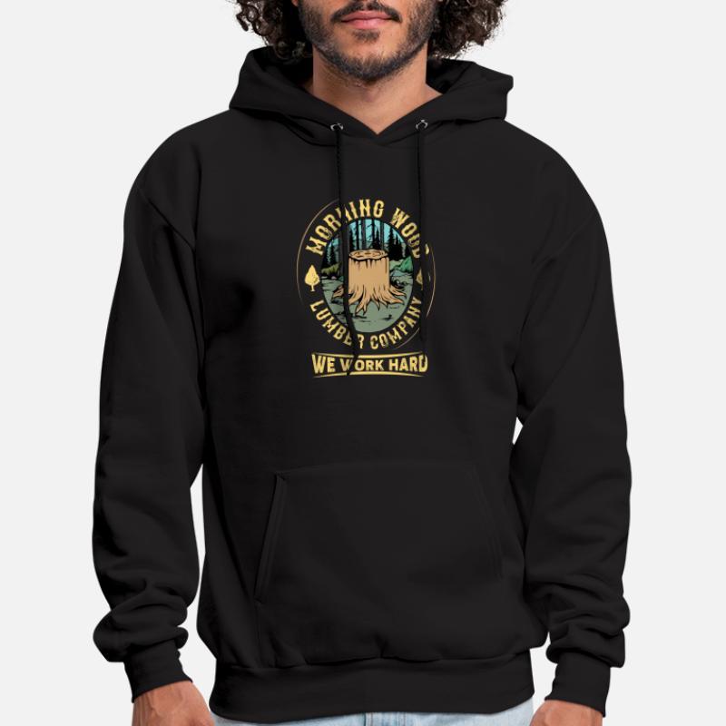 LUMBERJACK CARPENTRY  WOODWORK AXE TREES  Mens Black Hoodie