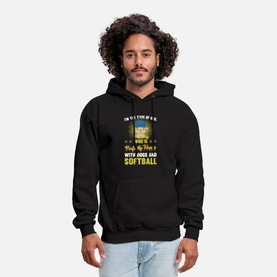 Catcher Hoodies & Sweatshirts - PERFECT GIRL WITH DOG AND SOFTBALL - Men's Hoodie black