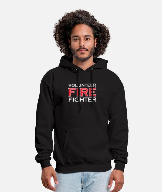 Fire Fighter Zip Up Hoodie Volunteer Hooded Sweatshirt for Men