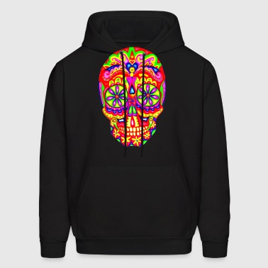 sugar_skull_bright_colors - Men's Hoodie