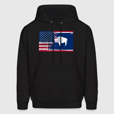 Wyoming American Flag Fusion - Men's Hoodie