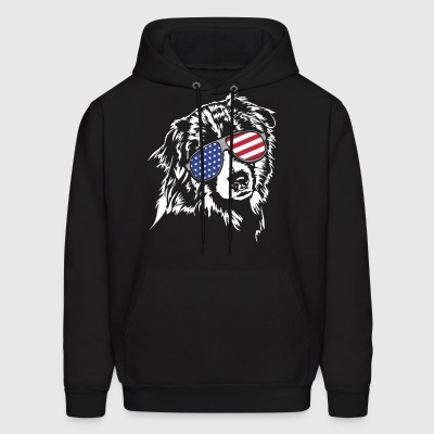 AUSTRALIAN SHEPHERD with America Flag Sunglasses - Men's Hoodie