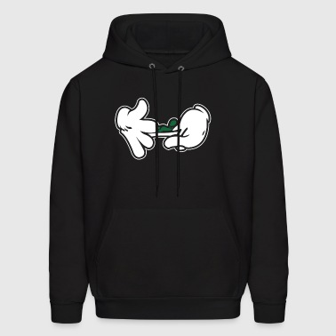 Cartoon Hands Rolling Blunt Swag Weed - Men's Hoodie
