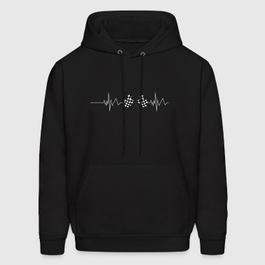 Racing Flag Checkered Flag Heartbeat - Men's Hoodie