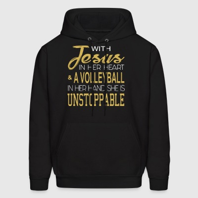 With jesus in her heart and a volleyball in her ha - Men's Hoodie