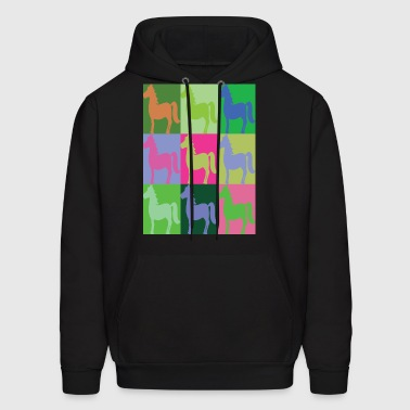 COLORED HORSES Pop Art - Men's Hoodie