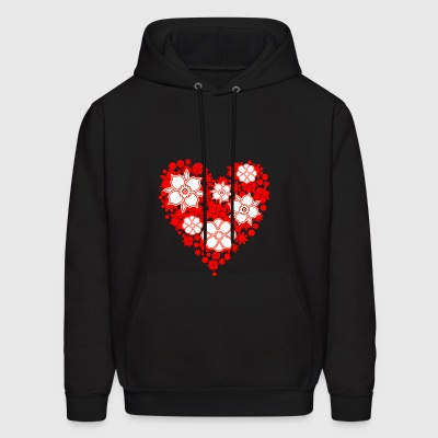 heart shaped flower bouquet - Men's Hoodie