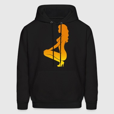 A Sexy Girl Kneeling On The Floor - Men's Hoodie