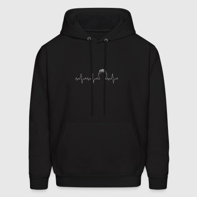 Heartbeat Ship sailing gift heart line ocean - Men's Hoodie