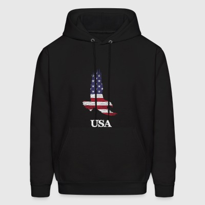 USA Flying Eagle Flag by Basement Mastermind - Men's Hoodie