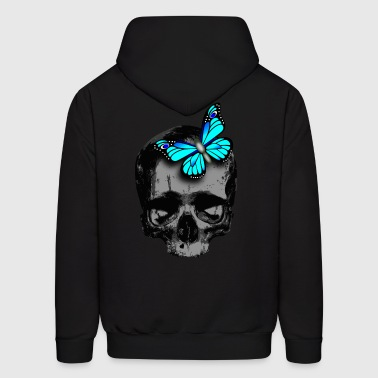 skull with butterfly blue - Men's Hoodie
