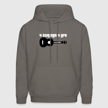 Ukulele 4 Strings 4 Life dark Background - Men's Hoodie